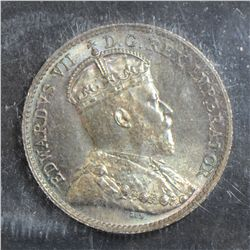 1910 5 Cents, ICCS MS-65 Pointed Leaves, attractively toned. Superb example.