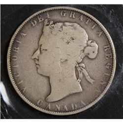 1871H, 1881H, 1892 Obverse 3, 1899 Small '9' 50 Cents. G to VG. Lot of 4 coins.
