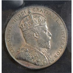 1909 50 Cents, ICCS MS-65, light toning over full original lustre. Rare this nice. Possibly the fine