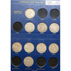 50 Cents 1940 to 1962, grade VG to UNC, must be viewed for all the varieties. Lot of 24 coins.