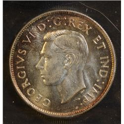 1947 Maple Leaf 50 Cents, ICCS MS-64, lightly toned.