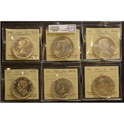 1937(2), 1946, 1954(2) & 1965 T.5 $1.00, all ICCS MS-62. Lot of 6 coins.