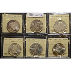 1937, 1939, 1952, 1962, 1963 & 1967 $1.00, all ICCS MS-64. Lot of 6 coins.