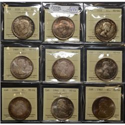1937, 1939, 1958, 1960, 1961, 1963, 1964, 1966 & 1967 $1.00, all ICCS MS-64. Lot of 9 coins.