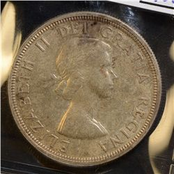 1955 $1.00, Arnprior with Die Break & 1955 $1.00, both ICCS MS-63. Lot of 2 coins.