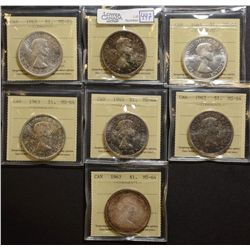 1963(6) & 1967 $1.00, ICCS MS-64. Lot of 7 coins.