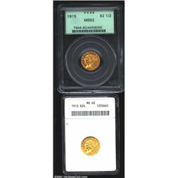 1913 $2 1/2 MS62 ANACS, sharply struck with pleasingly colored, yellow-gold surfaces; and a 1915 MS6