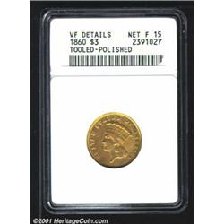 1860 $3--Tooled, Polished--ANACS.