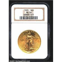 1925 $20 MS64 NGC.