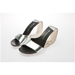 Paula Abdul Signed Silver United Nude Pumps