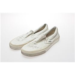 Michael J. Fox Signed White Vans Tennis Shoes