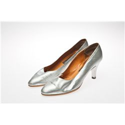 "Barry Humphries ""Dame Edna"" Signed Silver Pumps"