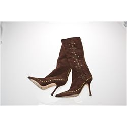Jennifer Tilly Signed Brown Suede Jimmy Choo Boots