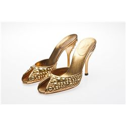 Kristin Chenoweth Signed Gold Gucci Pumps