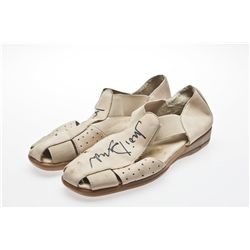 Dame Judi Dench Signed Taupe Footglove Shoes
