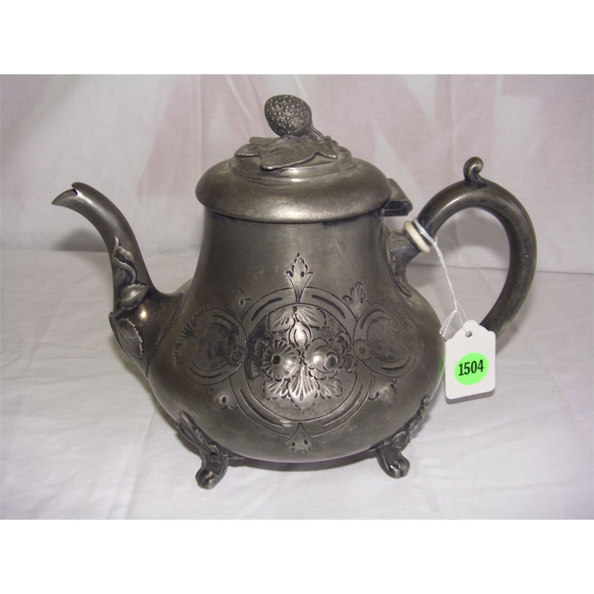 sc 1 st  iCollector.com & antique hand chased silver plated tea pot with Ivory handle spacers