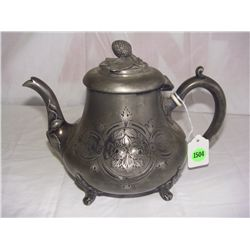 Antique Hand Chased Silver Plated Tea Pot With Ivory