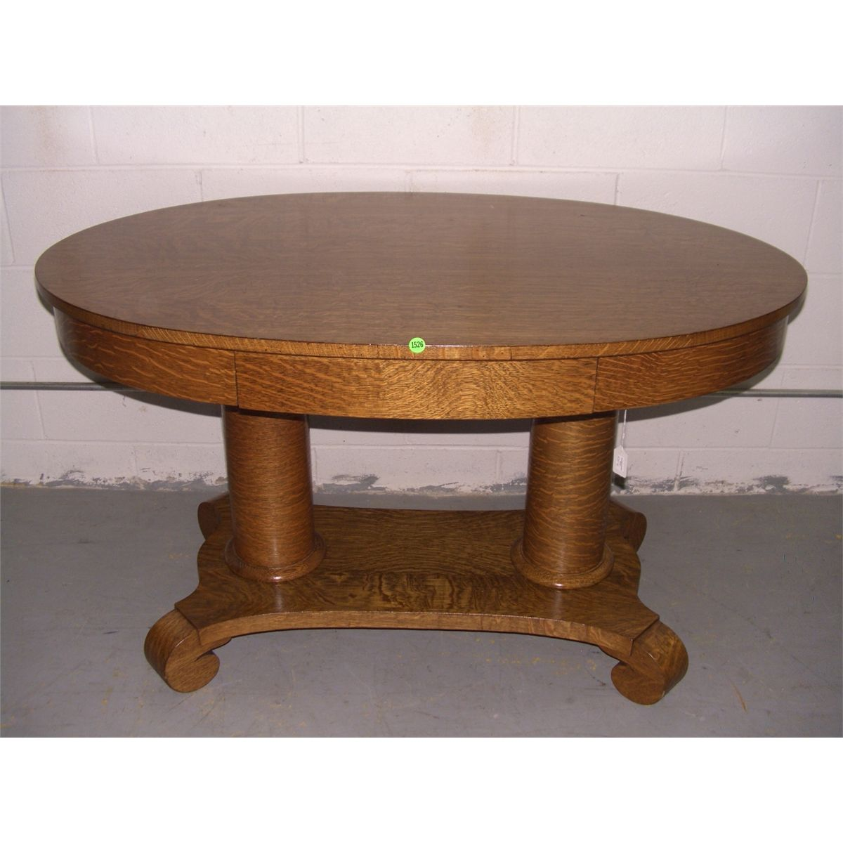 Beautiful American Oak Empire Oval Lamp Table With Drawer