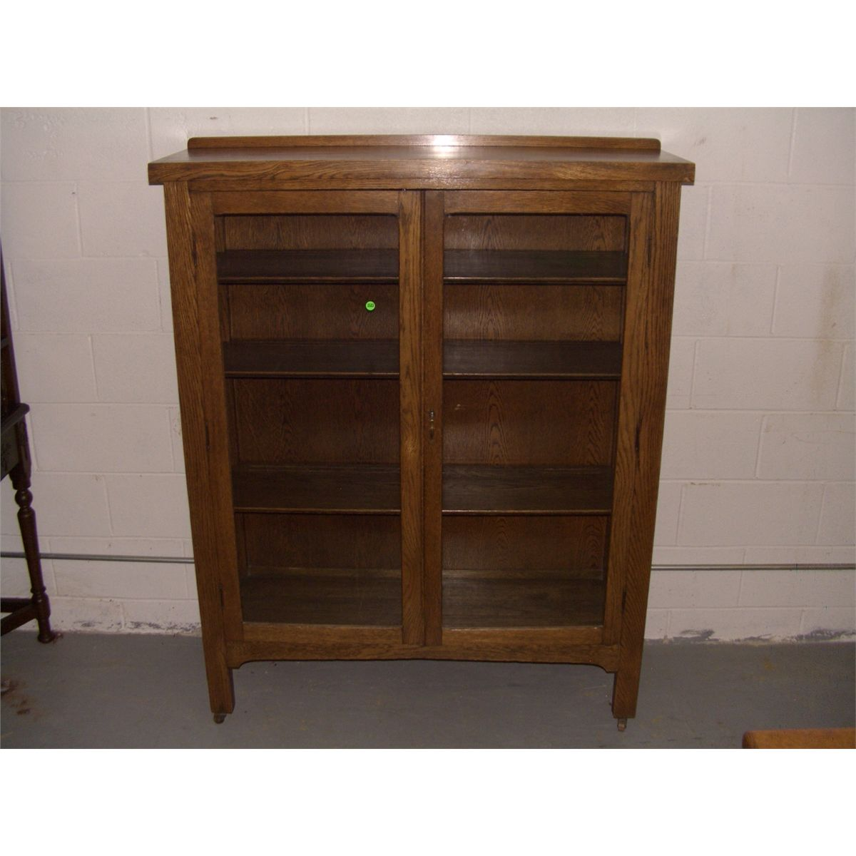 American Oak Arts & Crafts 2 door bookcase / china cabinet, solid ...