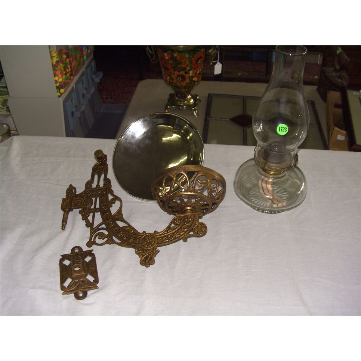Antique Wall Oil Lamp With Holder And Mercury Reflector