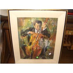 signed  LL watercolor of man playing cello