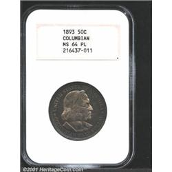 1893 50C Columbian MS64 Prooflike NGC.