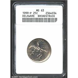 1999-P 25C Delaware Quarter MS63--Broadstruck--ANACS.