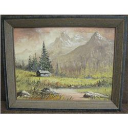 Burton Farrar, Wyoming, Teton Mist, oil on canvas,  12  x 16   Est. $ 200-300