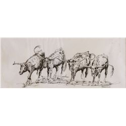 Edward Borein, untitled pen and ink, longhorn cattle, signed BOREIN lower right, 4  x 10   Est. $750