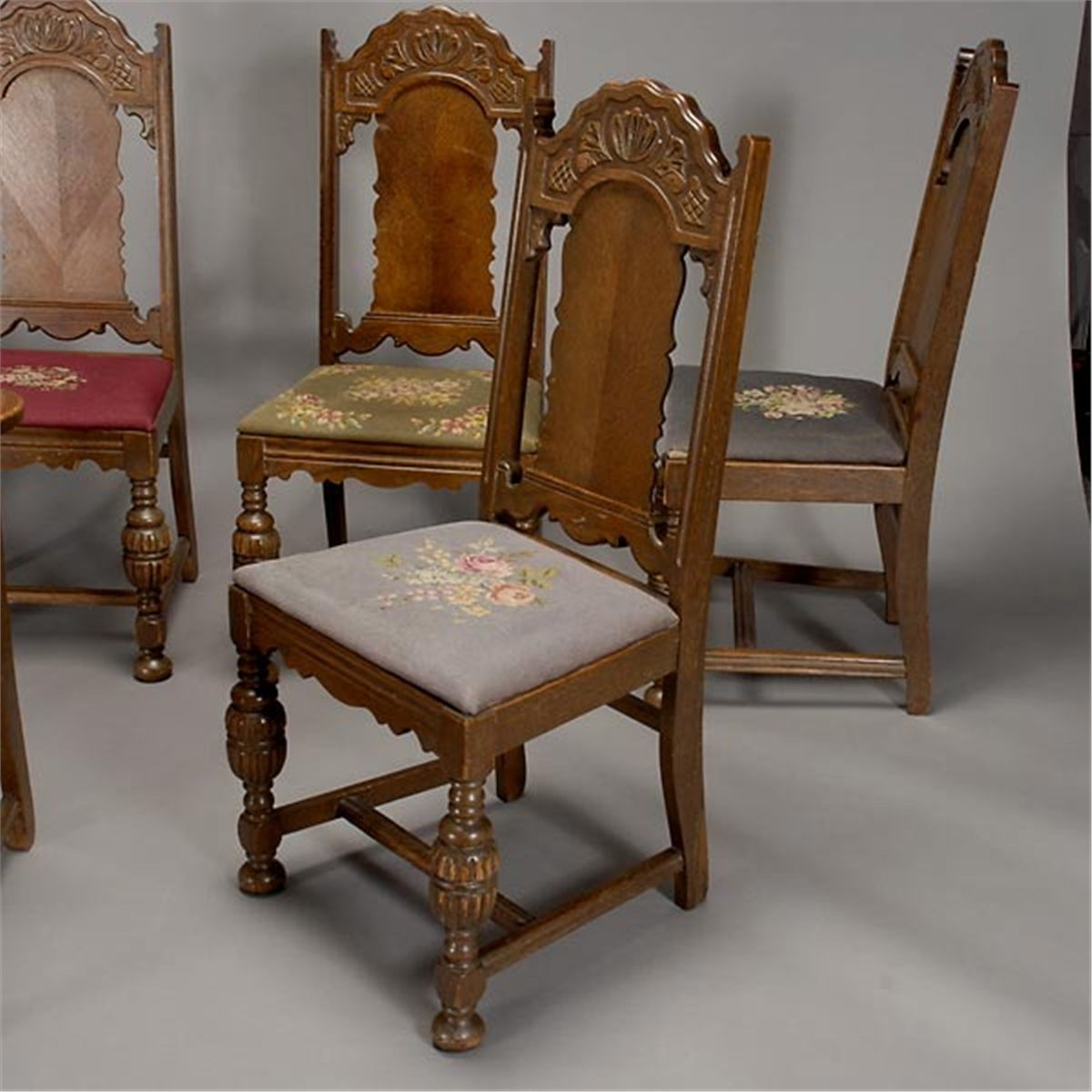 Jacobean Style Dining Table And Six Chairs