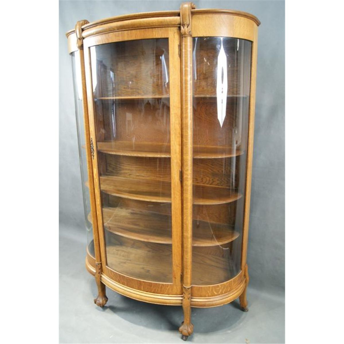 Antique Oak China Cabinet Curved Glass Antique Furniture