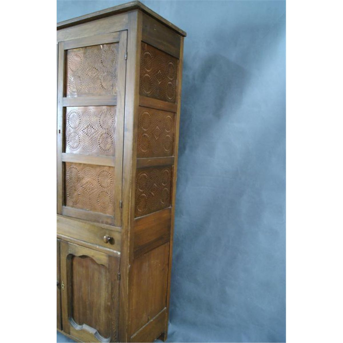 Kitchen cabinet pie safe w copper panels