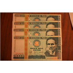 "Lot Of 4 $10000 Intis ""Peru"""