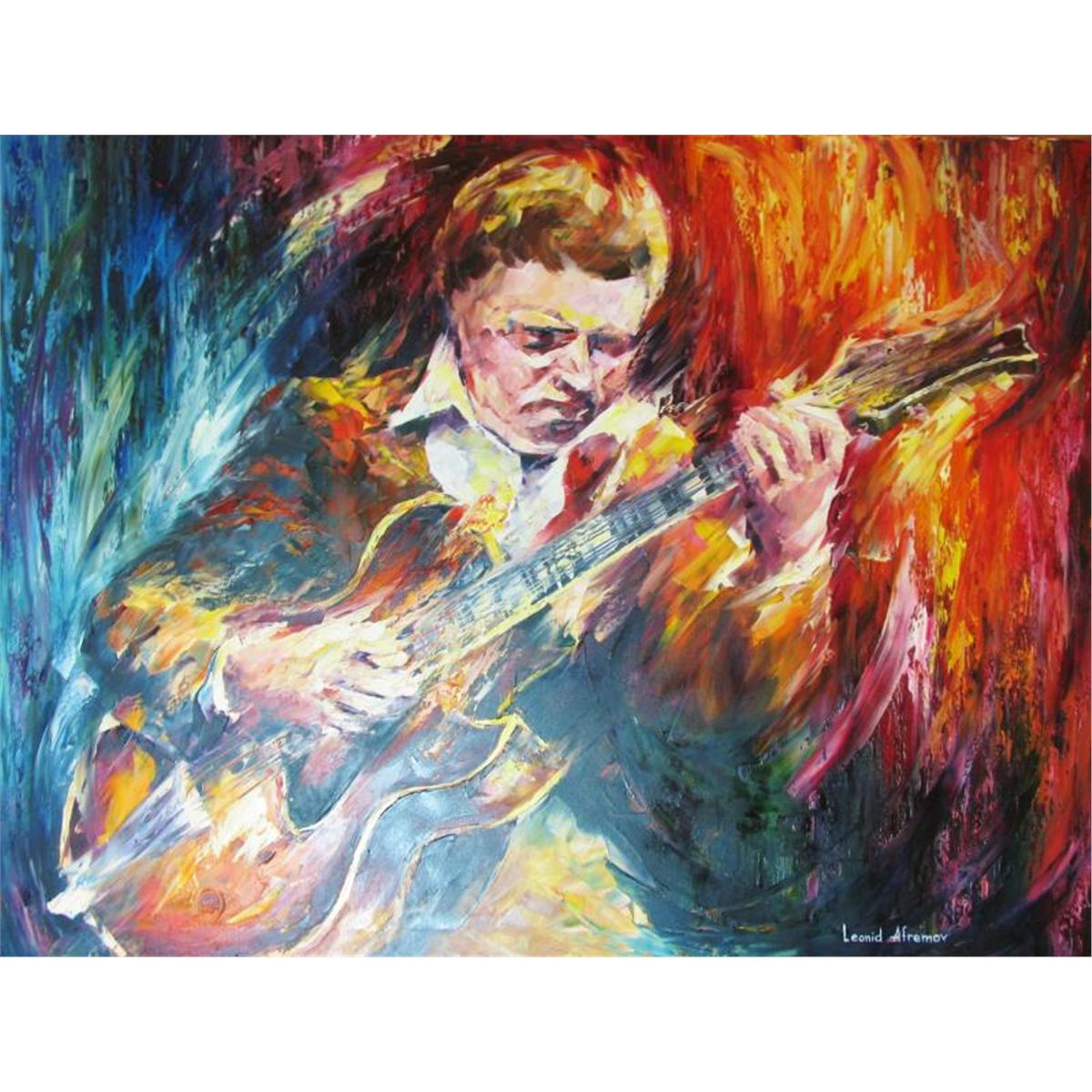 Painting Canvas Kenny Burrell Original Signed Painting Canvas Colorful