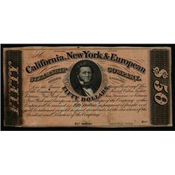 California, New York & European Steamship Co. $50 Coupon or Scrip Note.