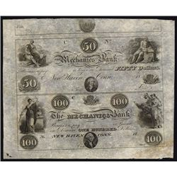 Mechanics Bank, Connecticut, Uncut Obsolete Banknote Sheet.
