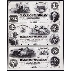 Bank of Morgan, ca.1857 Obsolete Proof Sheet Trio.