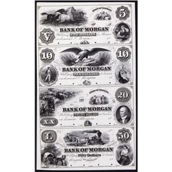 Bank of Morgan, ca.1857 Obsolete Proof Sheet of 4.
