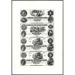 Farmers and Mechanics Bank Uncut Reprint Proof Sheet of 4.