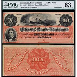 "Citizens' Bank of Louisiana, 1860's ""DIX"" Note."