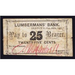 Lumberman's Bank, 1862 Scrip Note From Maine.