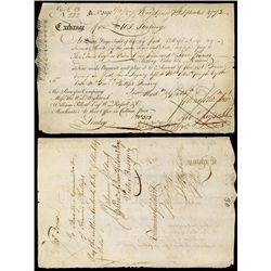 Principio Company 1773 Colonial Maryland Bill of Exchange.
