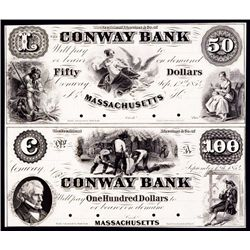 Conway Bank, 1854 Obsolete Proof Sheet of 2.