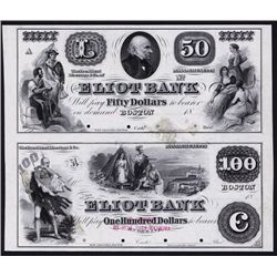 Eliot Bank, ca. 1850's Obsolete Proof Sheet of 2.