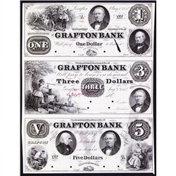 Grafton Bank, 1854 Obsolete Proof Sheet of 3.