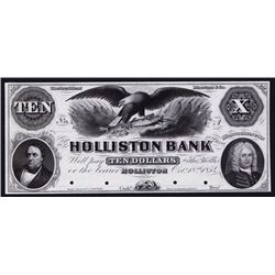 Holliston Bank, 1854 Proof Obsolete Banknote.