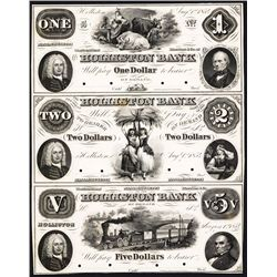 Holliston Bank, 1854 Obsolete Proof Sheet of 3.