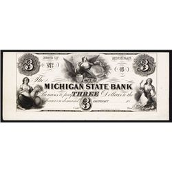 Michigan State Bank, ca.1830's Obsolete Proof.
