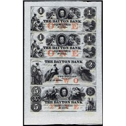 Dayton Bank Obsolete Banknote Uncut Sheet of 4.