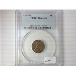 1924-D LINCOLN CENT PCGS GENUINE
